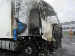 На границе загорелись два грузовых автомобиля.